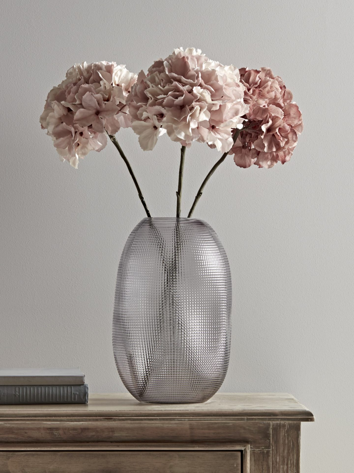 Textured glass vase and three faux hydrangeas from Cox and Cox.