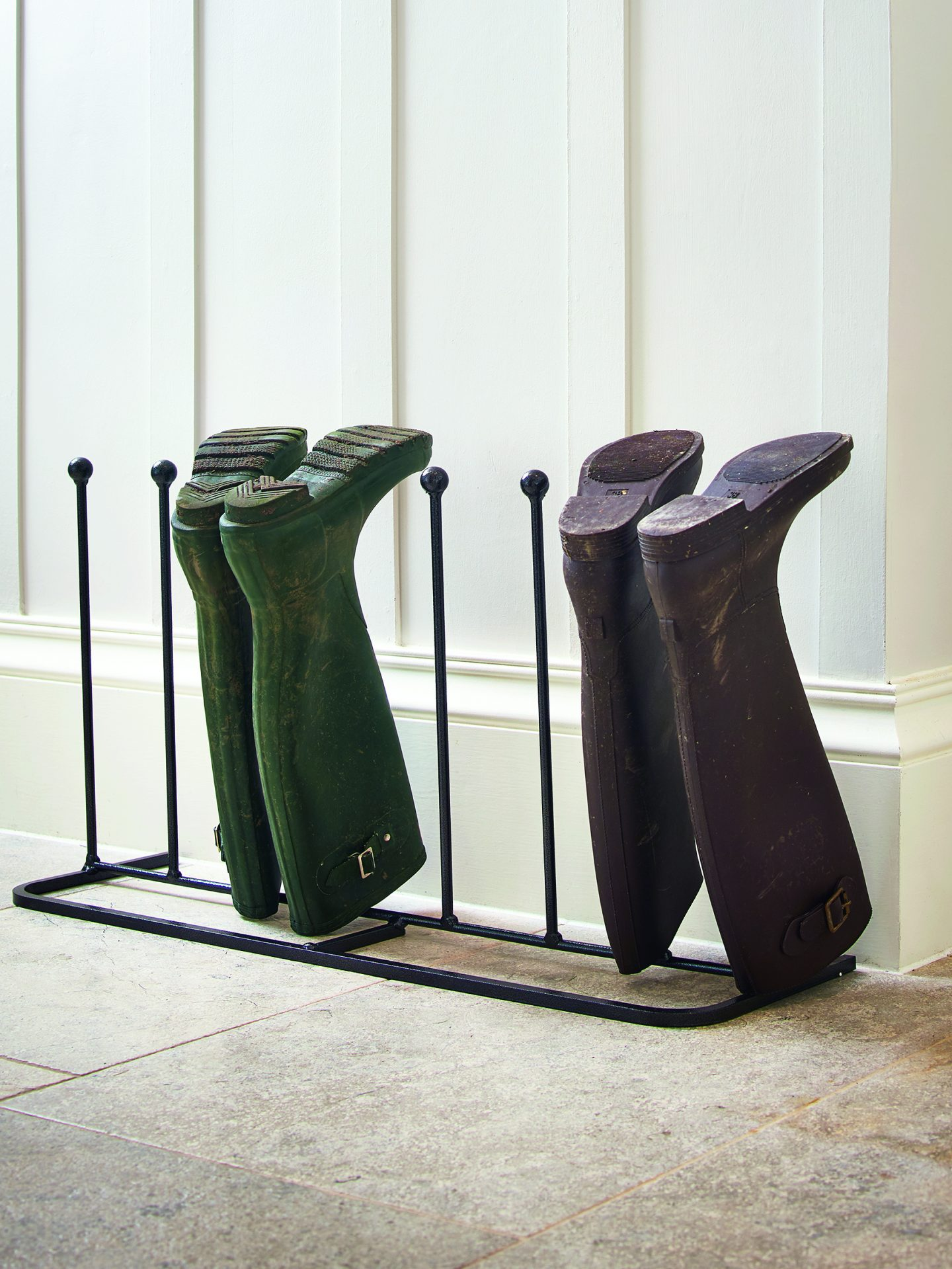 Four pair metal boot rack from cox and cox.
