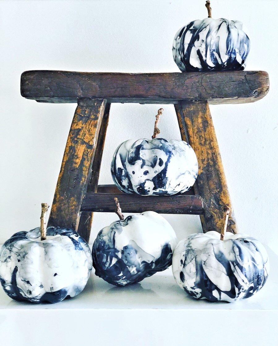 Marbled effect white pumpkins.
