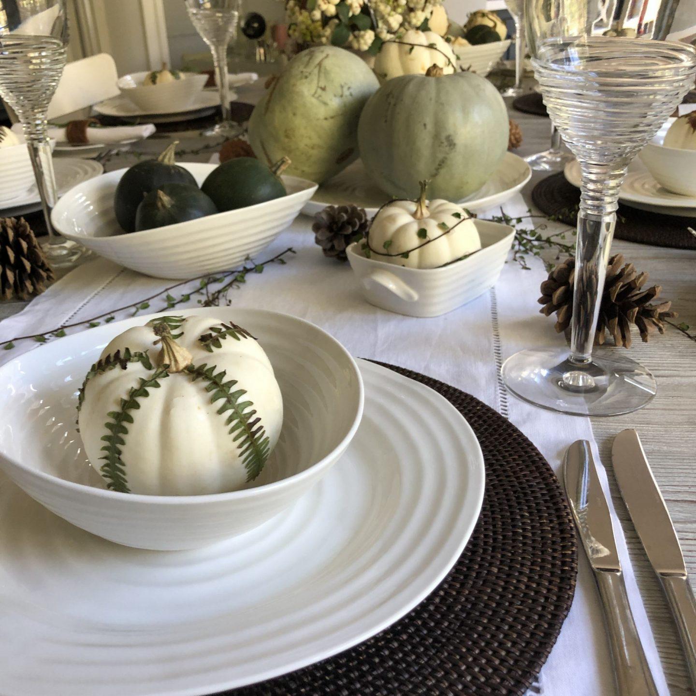 Decoupaged white pumpkins.