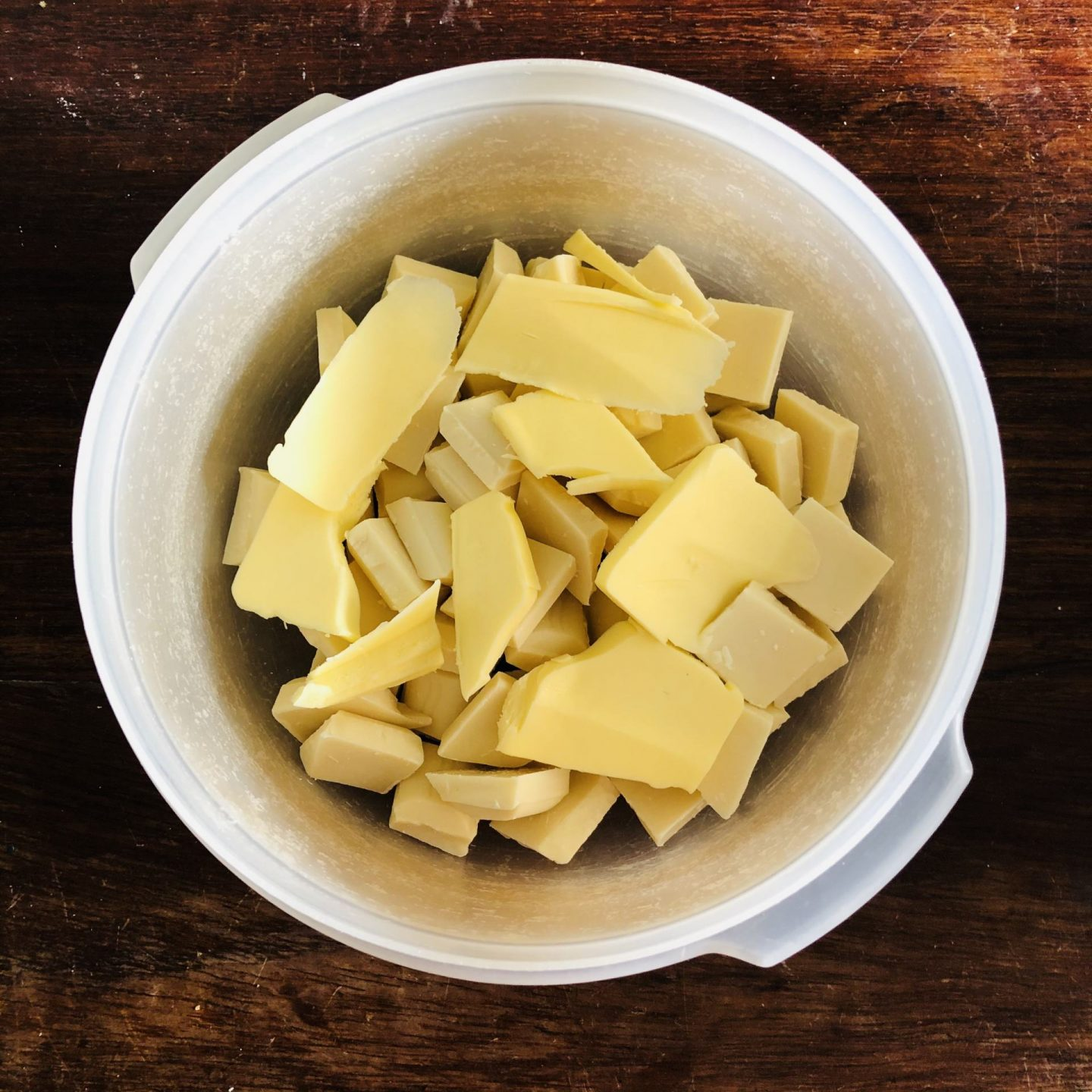 White chocolate and butter in a bowl