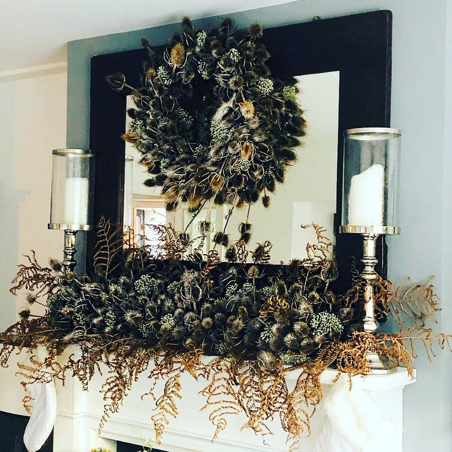 Christmas teasel wreath and mantle display