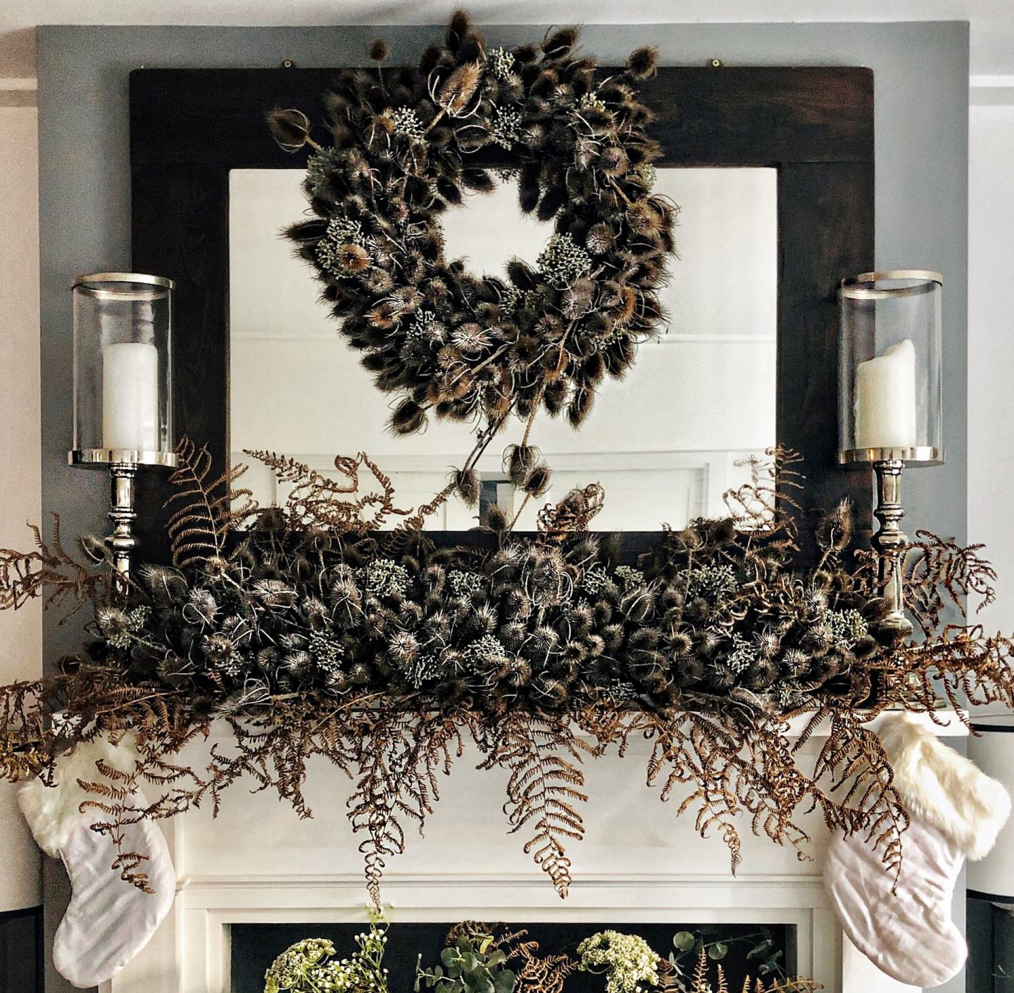 Christmas teasel wreath and mantle made by Jp Clark of jpslifeandloves.com