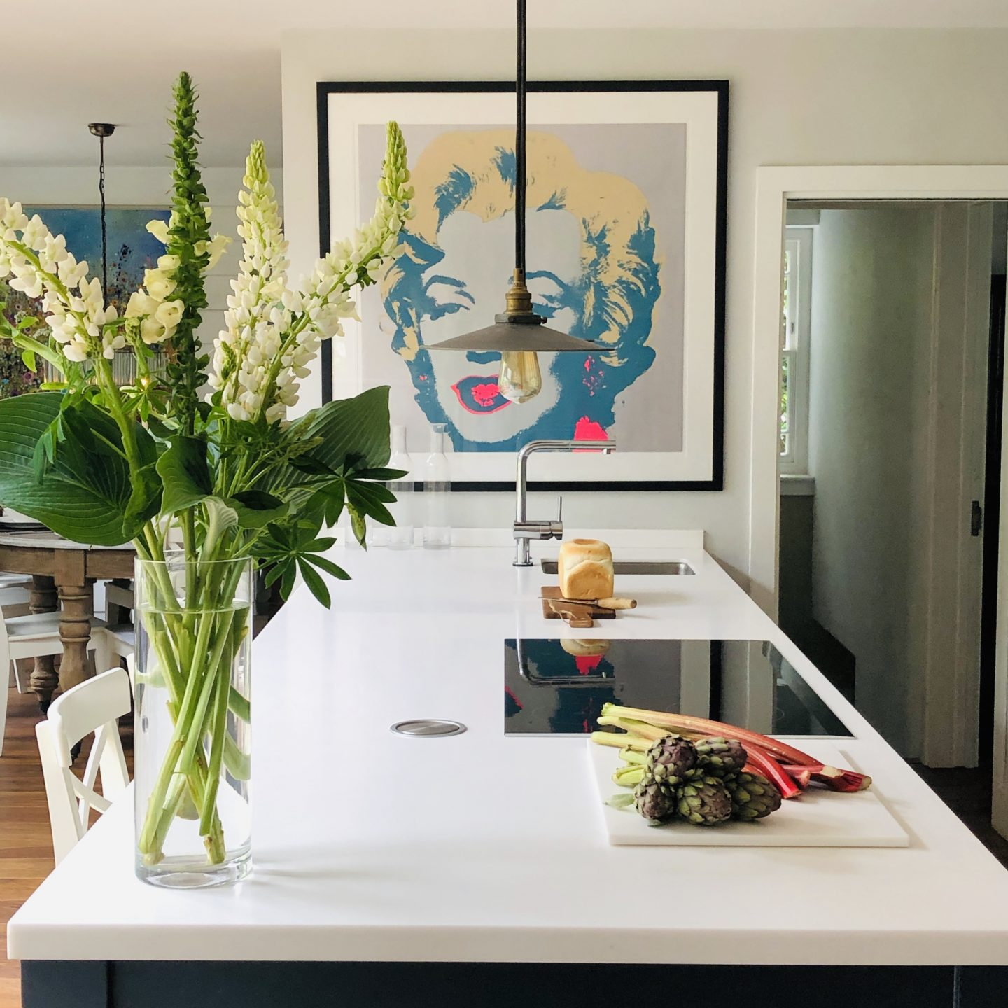 Kitchen island adorned with Lupins.