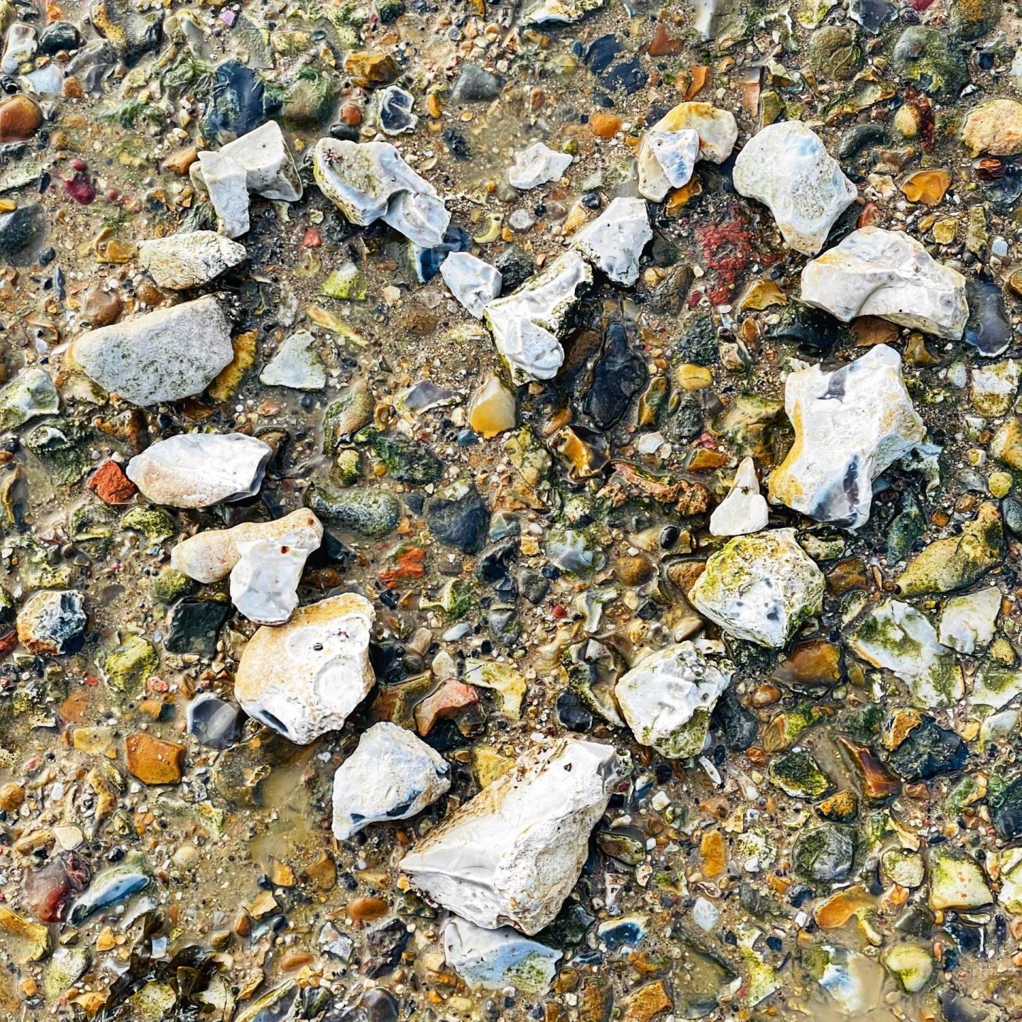 Heart made of pebbles on a beach