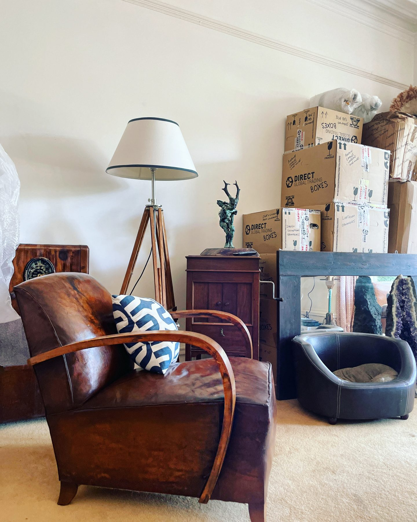 Victorian gothic semi detached house - the living room, with moving boxes.  Owned by Jp Clark @jpslifeandloves jpslifeandloves.com
