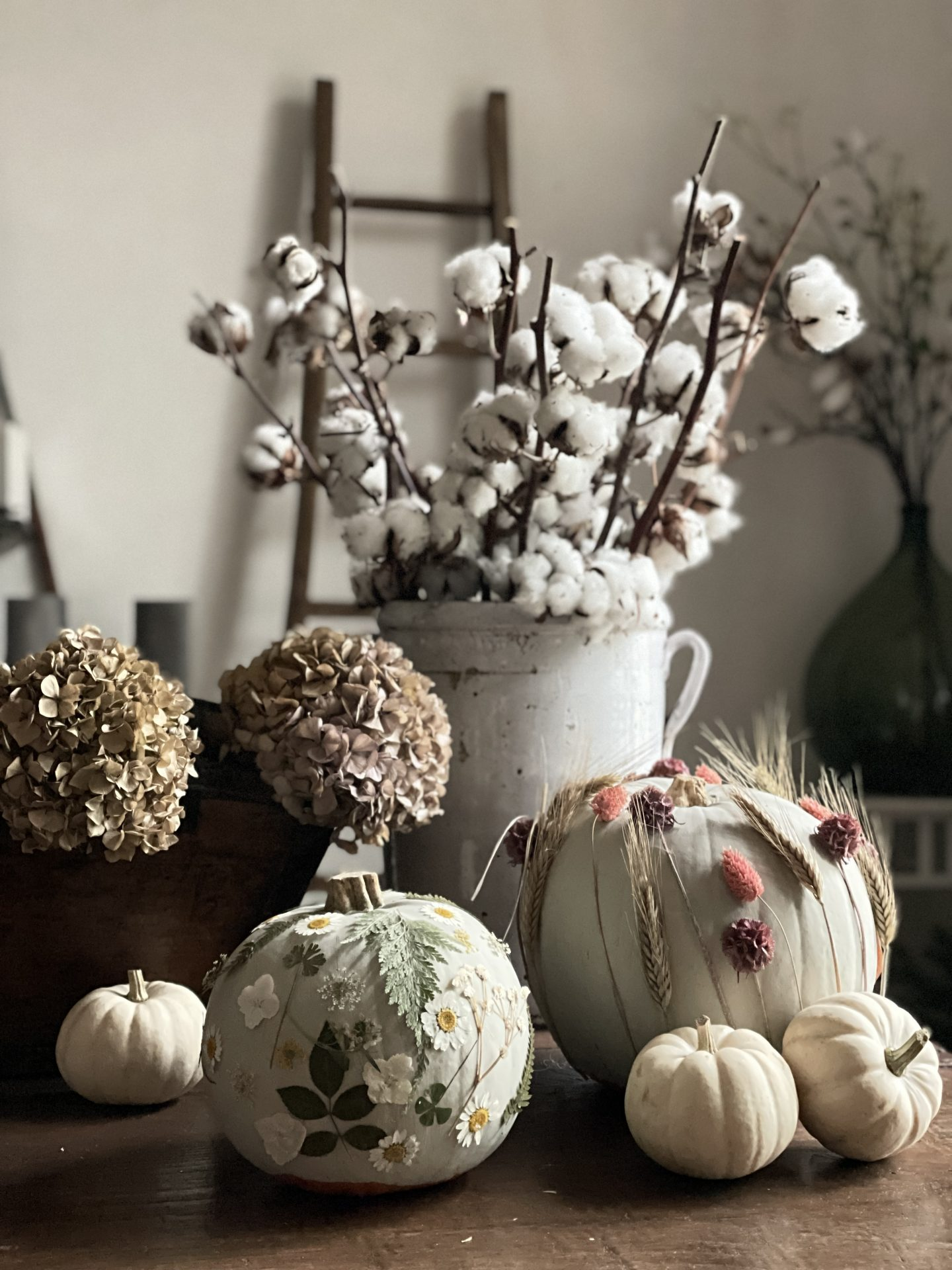 Pumpkins covered in dried flowers