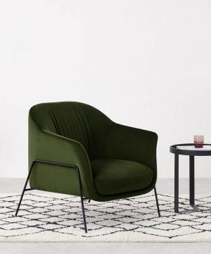 Lucie Accent Armchair – Olive Green Velvet. *
