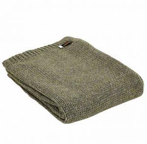 Tweedmill Knitted Alpaca Throw – Green. *