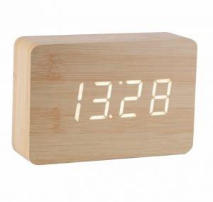 Gingko Brick Click Clock – Beech White LED. *