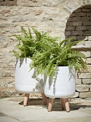 Two Striped Standing Planters