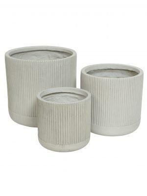 Three Striped Concrete Planters