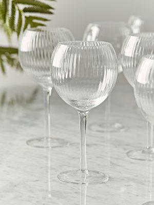 Six Fluted Wine Glasses – clear glass