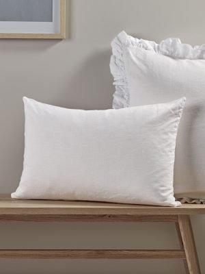 Washed Linen Rectangular Cushion – white