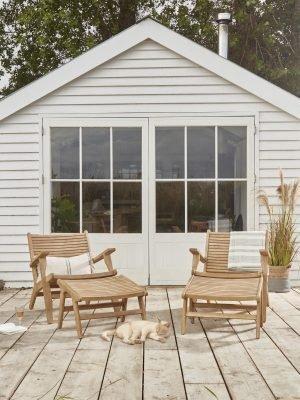 Indoor Outdoor Acacia Lounge Chair & Footstool