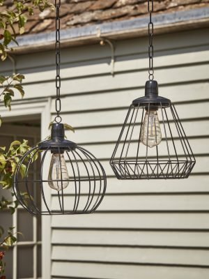 Two Solar Cage Lights