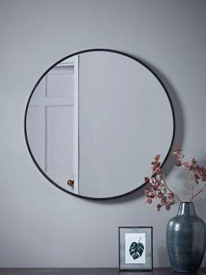 Industrial Slim Frame Round Mirror