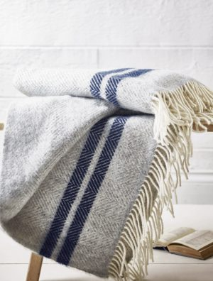 Soft Wool Throw – blue French stripe