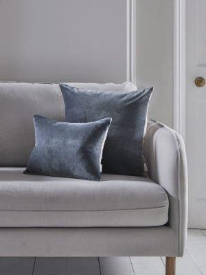 Velvet & Linen Square Cushion – blue