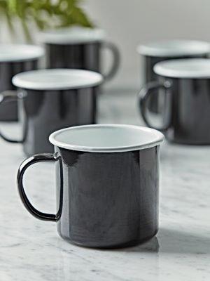 Six Enamelled Mugs – black