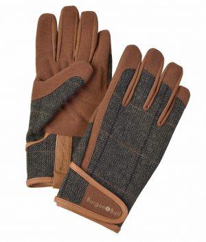 Burgon & Ball Tweed Gardening Gloves, Large, Brown. *